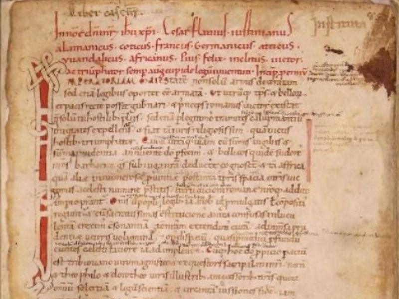 Giustiniano, Institutiones, Sess. 110, Roma, Biblioteca nazionale centrale, partic.